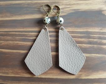 Leather teardrop earrings, Bohemian earrings, Dangle earrings, Gemstone earrings, Boho earrings, Beige leather earrings, Simple earrings