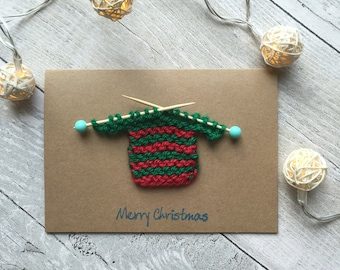 Christmas jumper card, Christmas jumper knitted card, Novelty Christmas card, Unique Christmas card, Ugly Christmas Sweater, Xmas Cards