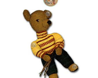 Vintage Digital Pattern - Toy Garden Bear to Knit - PDF Email Delivery - PrettyPatternsPlease