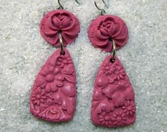 PLAIN FANCY Bright Pink Carved Look Floral Drop Earrings