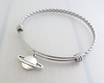 Saturn Planet Charm Stainless Steel Bangle, Silver Saturn Charm Bracelet, Adjustable Bangle, Space Bangle, Stackable Bracelet, Space Gift