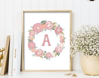 MONOGRAM PRINTABLE ART. Nursery  Letter Art Print. Pastel Floral Nursery Wall Art. Girls Room Decor. Initial Custom Wall Decor. Laurel