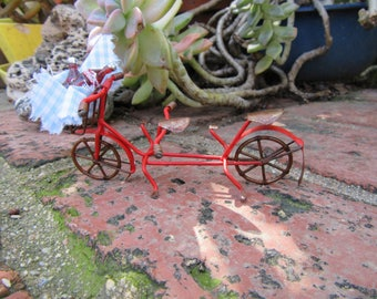 Miniature Fairy Garden Metal Bicycle Built for Two with Basket and Two Coca Cola Bottles Supply Accessory