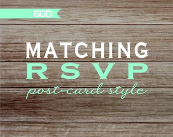 Matching RSVP Cards Post Card Style (front and back) - Printed or Digital File