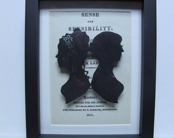 Sense and Sensibility Jane Austen - Framed papercutting - handmade - book gift