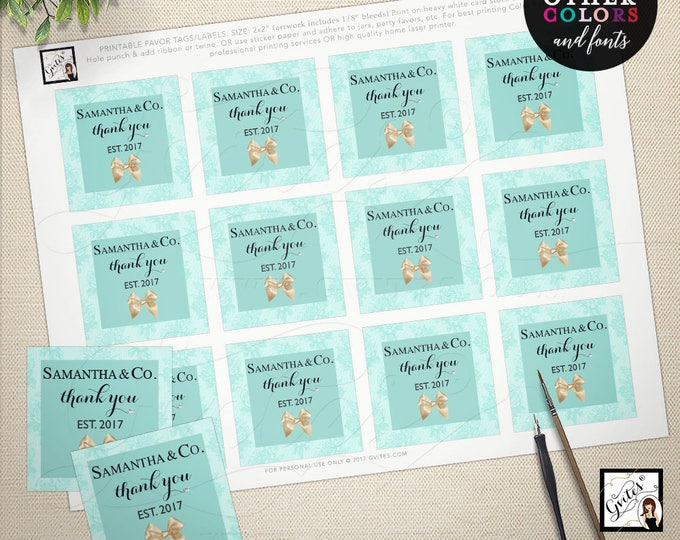Baby and co thank you tag, favor labels, party turquoise blue, baby and company breakfast baby tags. 2x2 Use as tags or stickers {You Print}