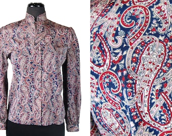Vintage 1980s Casual Corner Paisley Blouse w/ Tiered Ruffle-like Collar (Size 8)