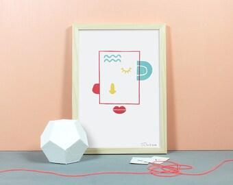 SHE | Linolschnitt, Linoldruck, Linoleum, Grafik, Druck, Print, Kunstdruck, Gesicht, Portrait, Sie, Frau, Paar, Liebe, gelb, rot, mint, A4