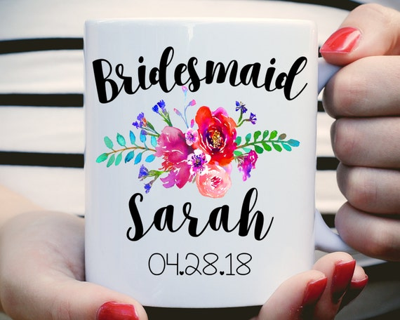 Bridesmaid Mug, Bridesmaid Gift, Watercolor Floral Bridesmaid Mug, Bridesmaid Gift, Bridesmaid Proposal, Bridal Party Favors, Mug