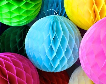 Blue 4 Inch Honeycomb Tissue Paper Balls - Paper Party Decor Decoration Supplies