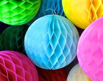 Blue 10 Inch Honeycomb Tissue Paper Balls - Paper Party Decor Decoration Supplies