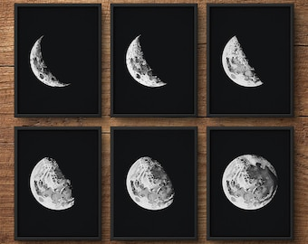 Moon Phases Set of 6, Moon Phases Wall Art, Moon Phases Prints, Moon Prints, Moon Posters, Moon Wall Art, Astronomy Prints, Large Wall Art