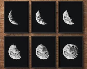 Mond Phasen Set von 6, Mond Phasen Wandkunst, Mond Phasen Drucke, Mond-Drucke, Moon Poster, Mond-Wand-Kunst, Astronomie Drucke, große Wandkunst