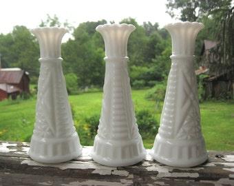 Vintage Milk Glass Vases Small Trio Matching Set