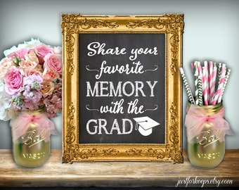 Share a Memory With The Grad Graduation Party Share Memories Leave A Memory For The Grad Chalkboard Style Printable Instant Download 5X7