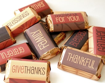 Thanksgiving Candy Bar Wrappers – Printable Digital File – Instant Download – Mini Candy Bar Wrappers – Modern – Fall – Thanksgiving – gift