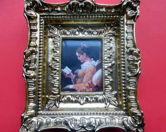 "Framed ""Young Girl Reading"" JEAN-HONORE FRAGONARD Small Ornate Gilded Gold Plastic Moulded Frame Made Italy Vintage Wall Hanging 7"" x 6.5"""