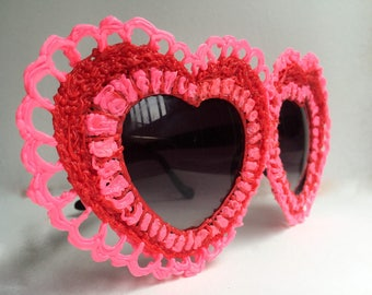 Crochet Heart Sunglasses - Valentine's Day Sunglasses - Neon Pink Sunglasses - Party Sunglasses - Handcrafted 3-D Pen Eyewear - Love Glasses