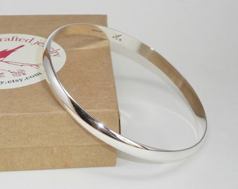 Gently Domed Sturdy Bangle Bracelet Hand Forged Solid Sterling Silver Substantial Width and Thickness 6mm Wide x 2mm Thick Custom Size