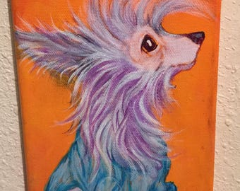 Chinese Crested painting, CourtsArt, dog art print,
