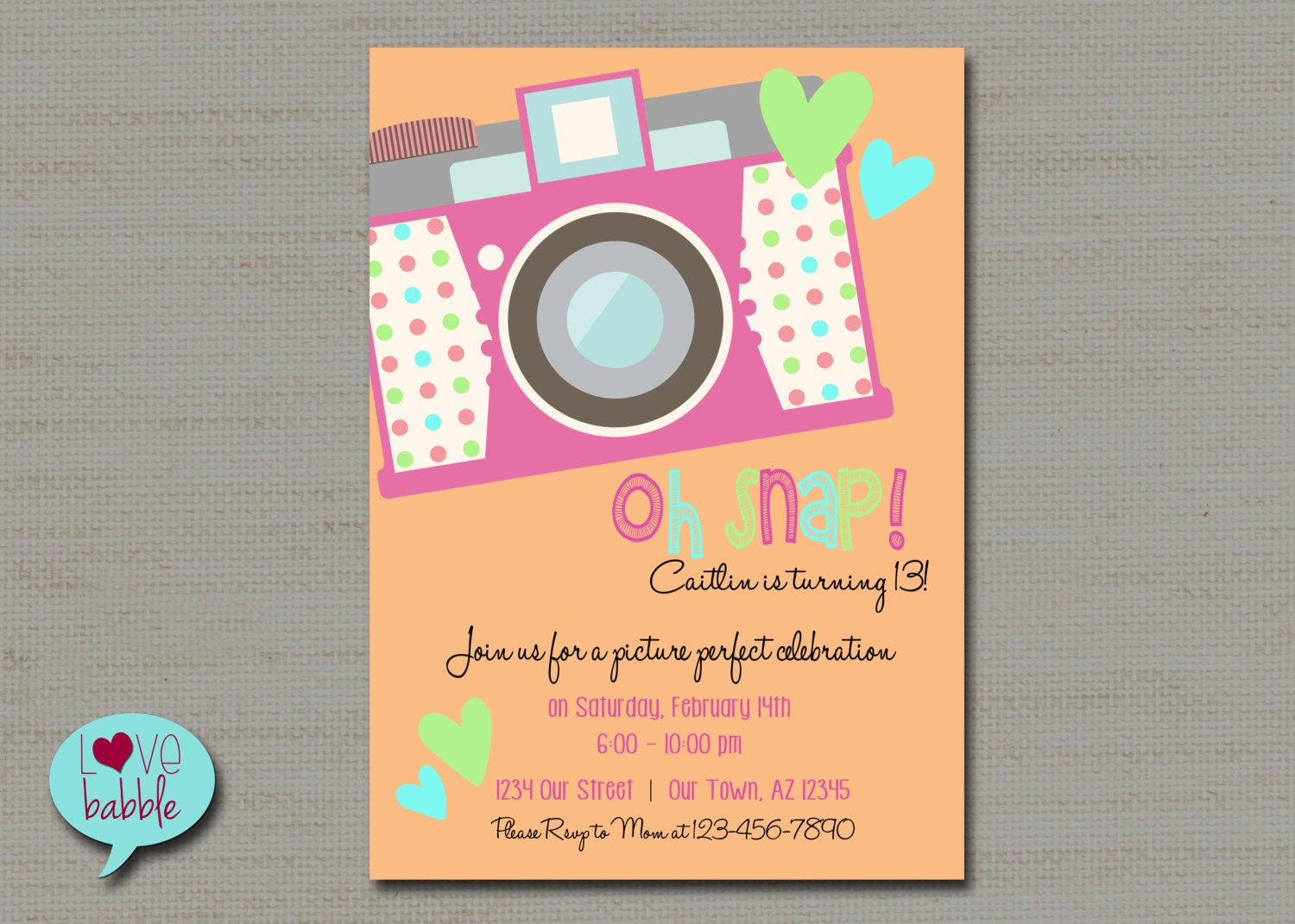 Tween Teen Birthday Party Invitation Photo scavenger hunt