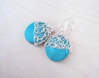 Turquoise silver earrings.Silver,Gold or Rose Gold Crochet wire earrings.Knitt turquoise earrings.Gem stone earrings. Romantic earrings