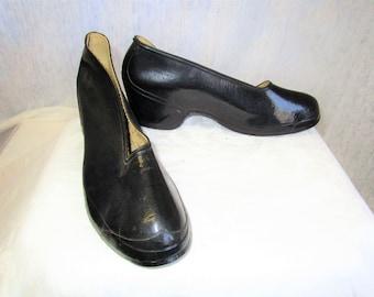 30s 5 1/2 Galoshes British Rubber Plainover Claire Women's Rain Boots
