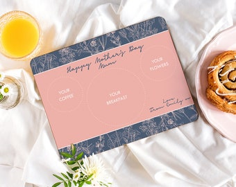 Mother's Day Placemat - Personalised Breakfast In Bed Placemat - Botanical Placemat - Mum Placemat
