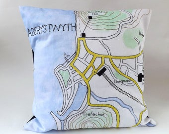 Aberystwyth Ceredigion, Mid Wales Coastal Town Map Printed and Embroidered Cushion Cover with Black Backing Fabric 40 x 40cm