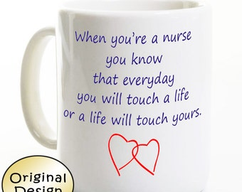 Nurse Gift - Touching Hearts Coffee Mug - Gift for Nurse / Nursing Student Graduate - Nurse Appreciation Day