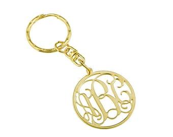 "Monogram key chain. 0.8"" monogram key chain. Personalized key chain. gold key chain. gold monogram key chain."