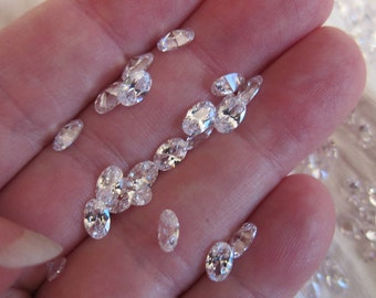 6x4mm Cubic Zirconia Gemstones, White, Grade AAA, Faceted Oval - Quantity Discounts - Available in 4, 6 & 10 Stone Pkgs and in Larger Pkgs