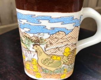 Vintage Stoneware Coffee Mug with Chickens