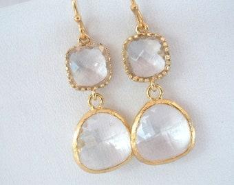 Glass Earrings, Crystal Earrings, Clear Earrings, White Earrings, Gold Earrings, Wedding, Bridesmaid Earrings, Bridal Earrings, Bride
