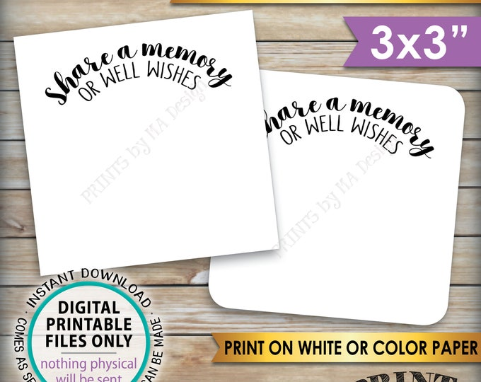 "Share a Memory or Well Wishes Cards, Retirement Party, Birthday, Graduation Party, PRINTABLE 3x3"" cards on 8.5x11"" Sheet, Instant Download"