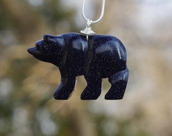 Blue Sandstone Polar Bear Necklace ~ Sparkly Stone Bear Pendant  ~  Midnight Blue  ~ Stone of Wealth  ~ Graduation Gift ~ Teacher Present