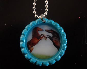 """Two Horses Playing Thoroughbred Wild Bottle Cap jewelry Necklace free 24"""" Chain"""