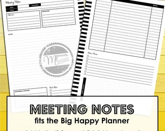 MAMBI Happy Planner Big Happy Planner: Printable smart Meeting Notes inserts for note taking in business, study, school and everyday life