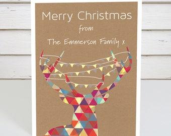 Personalised Geometric Reindeer Christmas Card