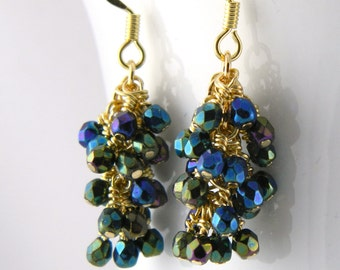Dark Green Rainbow Cluster Dangle Earrings with Gold Surgical Steel Ear Wires
