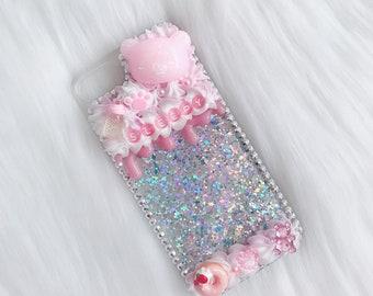 Iphone 7/8   Sleepy Rilakkuma Pink/Silver/White Design Decoden Case