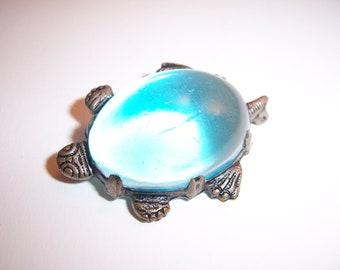 Vintage Blue Cabochon Silver Turtle Brooch Pin