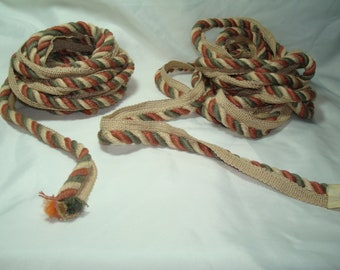 Vintage Cotton Twisted Rope Piping in Olive Green Light Rose and Tan.
