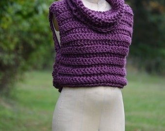 Hooded Vest / Cowl Neck Sweater / Cropped Sweater / Fall Sweater / Sweaters for women / Sweater Vest / Crochet Vest /  New Color: PLUM