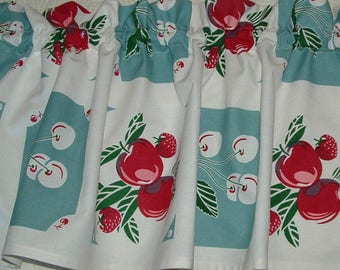 Valance Vintage look NEW Curtain Cotton 52 x 13  Retro KITCHEN Apples and Cherries 1940s Tablecloth Look Print Blue