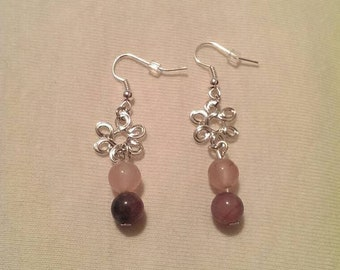 Silver Charm and Purple/Pink Malaysian Glass Beaded Earrings