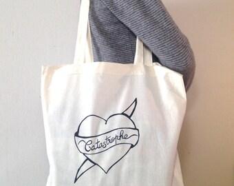 Tote Bag 100% coton écru - Coeur Castastrophe -