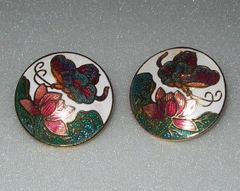 Enamelled earrings, butterfly,lotus, cloisonne,vintage, metal, round