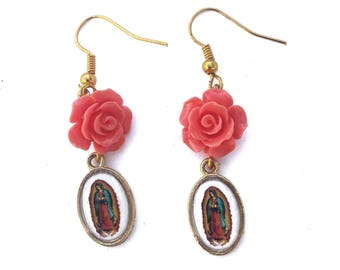 Small Virgen de Guadalupe Rose Earrings
