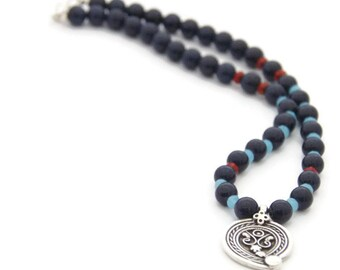 Tribal jewelry-blue necklace-paisley pendant-bohemian jewelry-ethnic jewelry- ethnic pendant